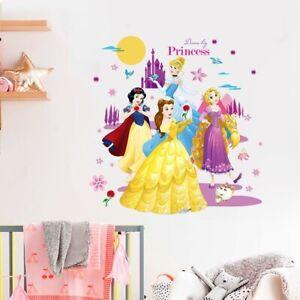 Disney Princess Snow White Rapunzel Cinderella Belle Wall Stickers Home Decor
