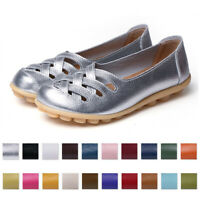New Womens Hollow Out OXfords Leather Driving Moccasin Pump Loafers Casual Shoes