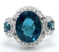 5.10 Carat Natural London Blue Topaz and Diamonds in 14K White Gold Ring