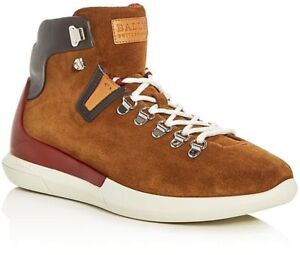 NIB BALLY AVYD TOBACCO SUEDE BLACK LEATHER LOGO TOP SNEAKERS 10 US 43 ITALY