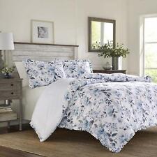 Laura Ashley Shabby Chic Blue Floral & Raffled 3-Pc Duvet Cover Set,Full/Queen
