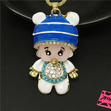 Betsey Johnson Blue Enamel Crystal Resin Cute Baby Pendant Chain Necklace