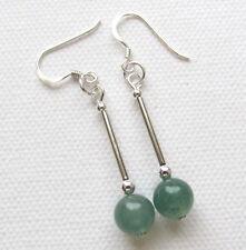 Art Deco Style Green Adventurine 925 Sterling Silver PIERCED Earrings Jellybean*