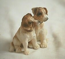 Pair of Mixed Breed Resin Cute Puppy Dogs Figurine Shadow Box Shelf Decor