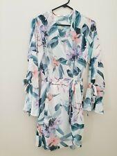 Sheike white floral long sleeved mini dress size 8
