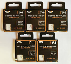 NGT 50 Barbless Hooks To Nylon Size14 to 3lb (1.3kg, 0.14mm) Hook Length
