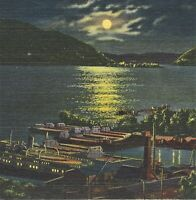 NY Newburgh Bay Pusher Barges Tank Farm Night View Teich Postcard 8A-H2721 1938
