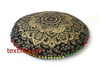 "28"" Round Floor Pillow Cover Black Gold Mandala Indian Decorative Cushion Covers"
