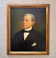 Antique Portrait Painting Gentleman Man Oil on Board American School