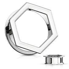 """Tunnels 12mm/1/2"""" Gauge Body Jewelry Pair-Hexagon Steel Double Flare Ear"""
