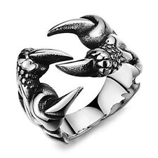 1 Pc Rock Punk Male Biker Rings Stainless Steel Dragon Claw Rings For Men GY