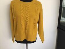 Womens Indigo of M&S Jumper Size 12 Mustard Yellow Split Sides Oversize Crop