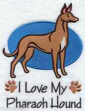 PHARAOH HOUND I LOVE MY SET OF 2 BATH HAND TOWELS EMBROIDERED BY LAURA