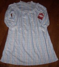 NWT Lanz of Salzburg Soft Blue HEARTS Tyrolean Flannel Nightgown LACE M 7/8 NICE