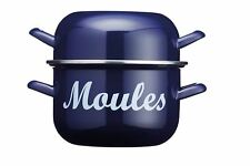 Kitchen Craft 18cm Blue Moules Pan - 2.5L Mussel Cooking Pot for Mussels