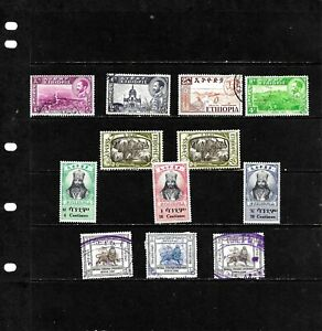 ETHIOPIA: NICE  'VINTAGE'  STAMP COLLECTION   DISPLAYED ON 1 SHEET. SEE SCANS