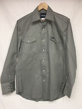 VGUC Men's WRANGLER Gray Long Sleeve Snap Shirt Medium double chest pockets