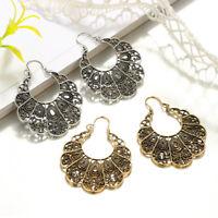 Geometric Water Drop Retro Hoop Earrings Big Dangle Earrings Vintage Jewelry