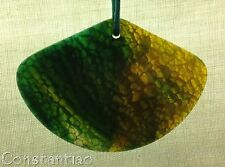 Beautiful Yellow-Green Dragon Veins Agate 'Fan' On Adjustable Multicolored Cord