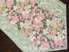 New listing Handcrafted-Quilted Table Runner - Spring Fling - Pink, Green, White Floral