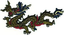 "2 1/4"" x 4 1/2"" Green Chinese Dragon Facing Left Embroidery Patch"