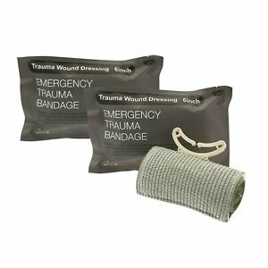 "(2) 6"" Trauma Bandage Emergency Israeli Style Battle Wound Dressing First Aid"