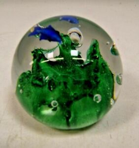 Murano Style 3D Art Glass Paperweight with Blue Fish and Green Reef