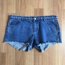 Cotton On W37 Size 14 Cut Off Mid Rise Blue Denim Embroidered Shorts Womens