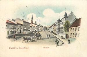 Zwiesel im bayrischen Wald, Stadtplatz, Marktplatz Litho E. Felle 1905