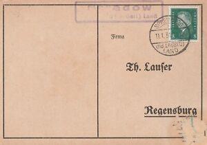Deutsches Reich Karte Landpoststempel Stradow Spremberg Niederlausitz Land 1931