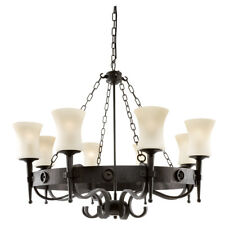 Searchlight 0818-8BK Cartwheel 8 Light Fitting In Black Wrought Iron Scavo Glass