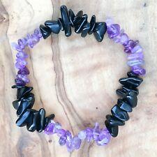 "Amethyst & Black Obsidian Gem Chip Bead Crystal Bracelet 7"" Confidence Grounding"