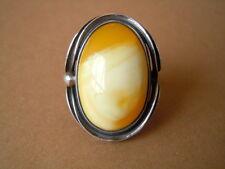 Edad 925 plata anillo White fluid Butterscotch naturaleza Bernstein Amber 9,1 G/RG 54