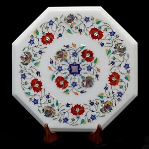 """15"""" Side Table Top Semi Precious Stone Inlay Work Marble Coffee Table Floral Art"""
