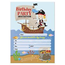 Pirates Birthday Party Invitations, Kids Girl Children's Party Invites