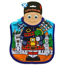 BABY BIB Highland Piper Scotland Bagpipes Terry Material Velcro Washable NEW UK