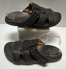 OLUKAI Kaula Slide Fisherman style Black Leather Sandals Men's Size US 11