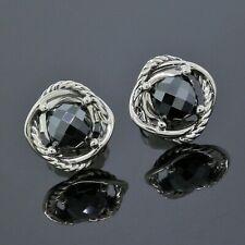 David Yurman 925 Sterling Silver 7MM Hematite Infinity Stud Earrings