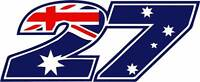 Motorbike Vinyl Decals Race Number 27 Australian Colour Motorcycle Stickers x 2