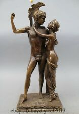 "18""Western Art Bronze Statue Famous Two Men Women man and wife Statue Sculpture"