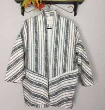 ESPRIT CREAM STRIPED OPEN FRONT WOMENS SWEATER SIZE 8