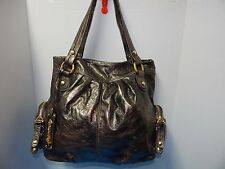 Elegant B. Makowsky Genuine Leather Hobo Handbag Purse Metallic Mix Gray Brown