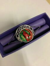 HEATHERGEMS CORMAG CELTIC BANGLE RED and GREEN SILVER PLATED ADJUSTABLE