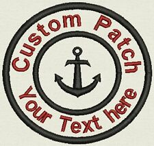 "Marine 3.5"" Circle Patch with Anchor Personalize with text or Name"