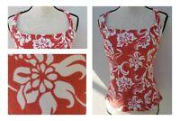 Lands End Womens Swim Tankini Top Underwire Sz 12 Coral Floral Paisley Short
