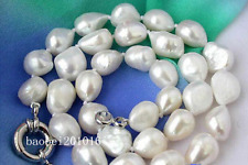 "New huge Baroque 9x12mm WHITE FRESHWATER CULTURED PEARL NECKLACE 18"" AAA778"