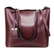 Women Casual Shoulder Bag Genuine Leather Handbag Large Capacity Bag,Dark Pur C2