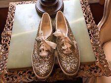 Kate Spade Keds Gold Glitter Sneakers W/white Laces & Trim NWOB Sz. 8