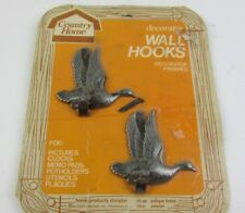 Vintage Country Home Decorator Wall Hooks Pewter Ducks