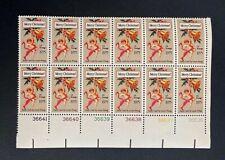US Stamps, Scott #1580 10c 1975 Christmas Plate Block of 12 XF M/NH Fresh